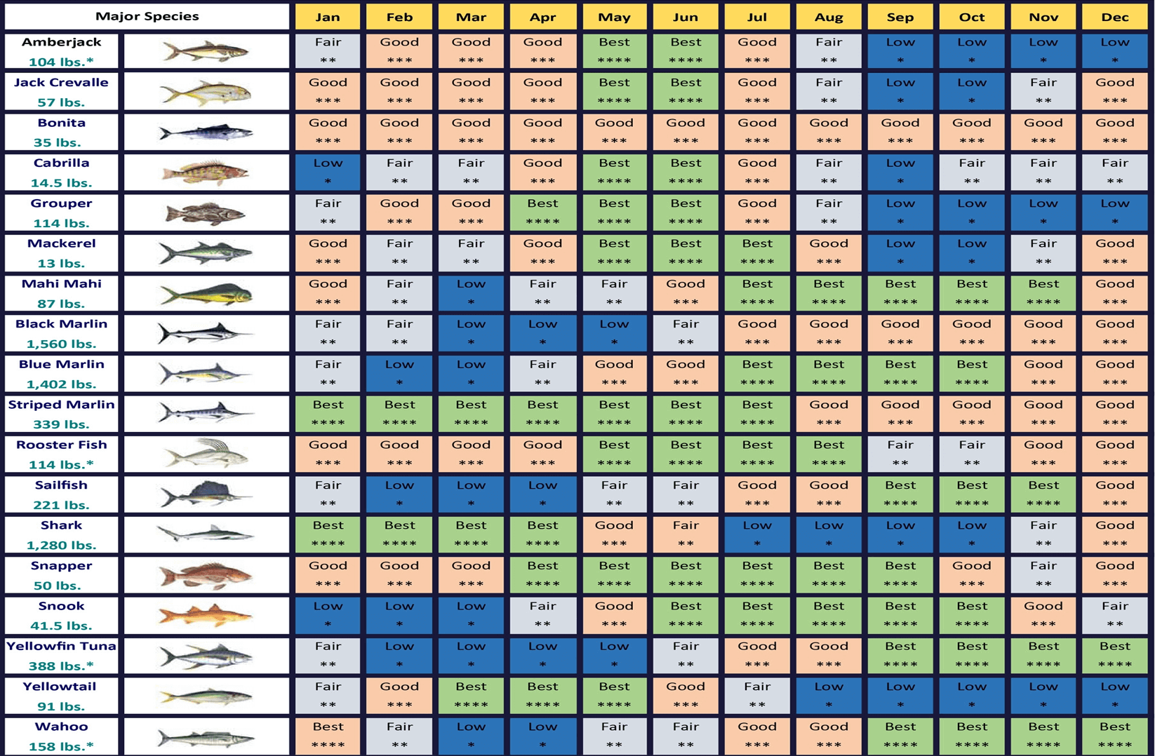 Cabos Fishing Calendar