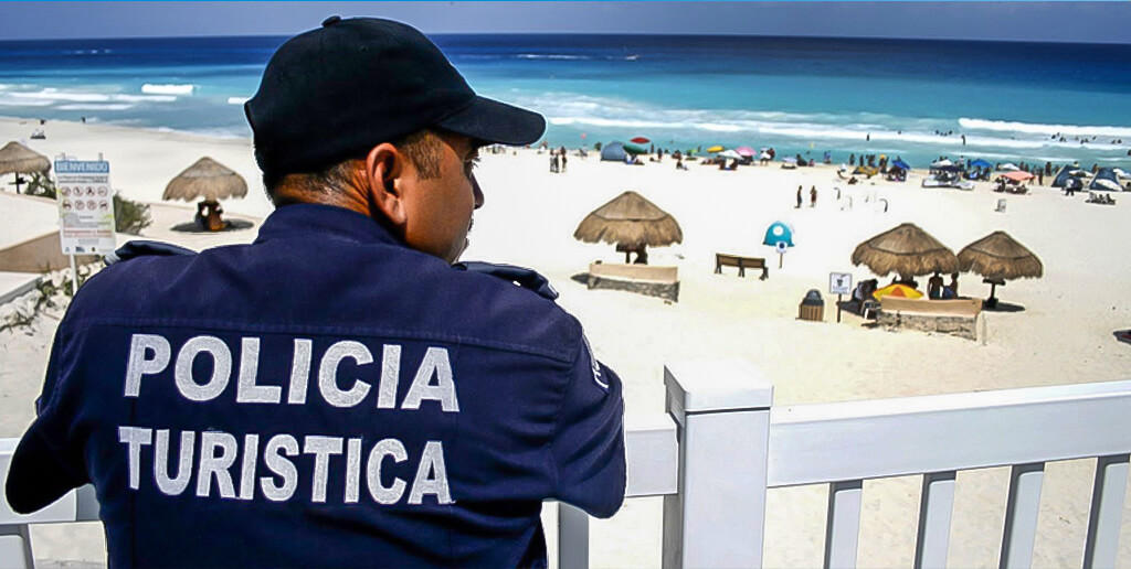 policia-turistica-cuidando-playa-de-cancun