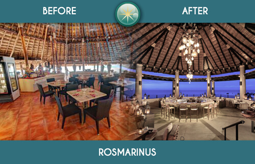 Restaurant rosmarinus at Royal Solaris Cancun before and after remodelation