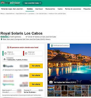 Certificado de Excelencia en Club Solaris Cabos