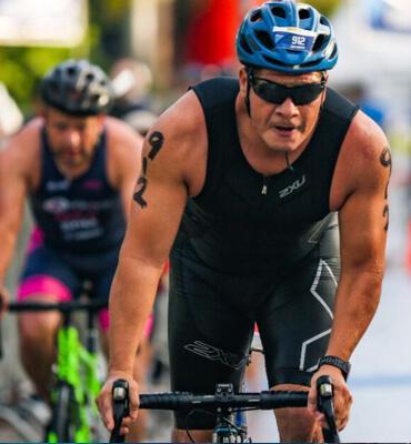 Competidores en el Triatlon de Cancún 2019
