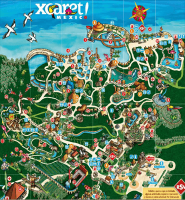 Mapa del Parque de Xcaret en Cancún